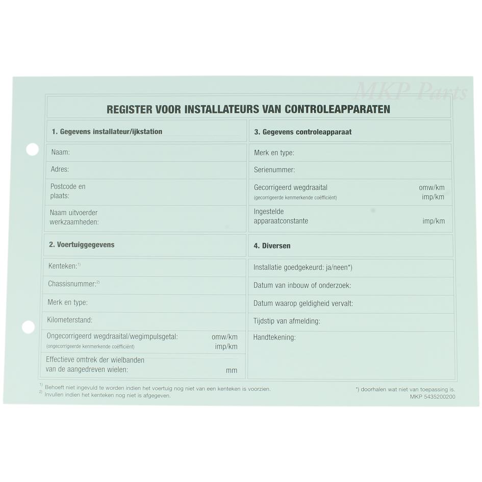Proofsheet tachograph Netherlands