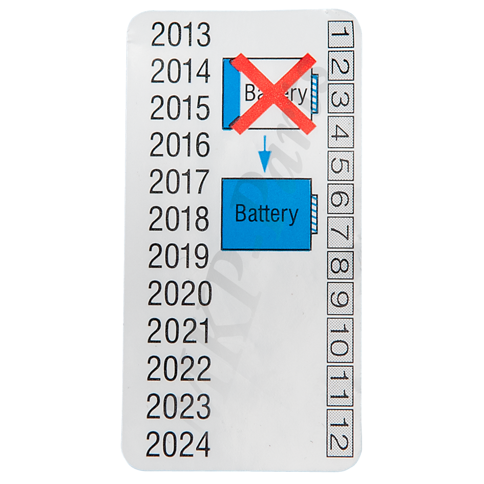 DTCO battery replacement date label